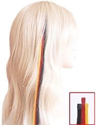 Fun Mèches pour les fans de Wm–3extensions en cheveux 45cm–Noir, Rouge, Jaune