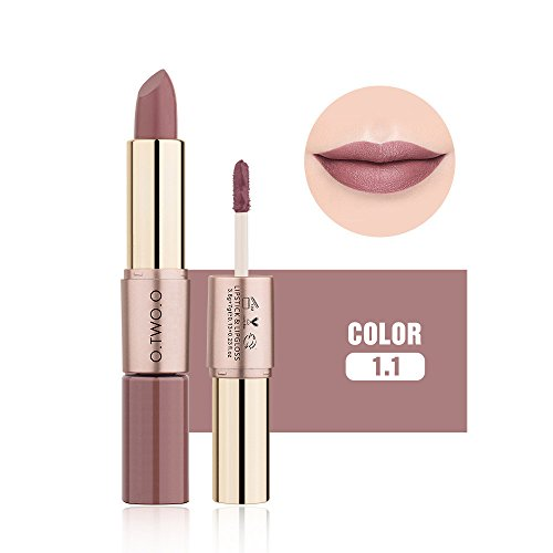 12 Farben Matte samt Lippenstift Doppel-End-Lip Gloss Make-up Kosmetik (K)