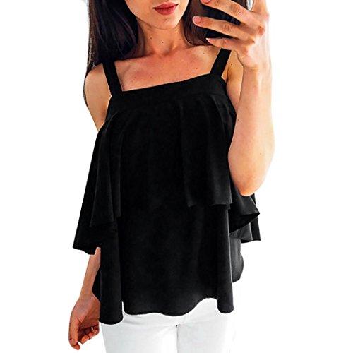 Kobay Women Sexy Camisole Tops, Ladies' Ruffles Chiffon Tank Blouse Pullover Tops T-Shirt