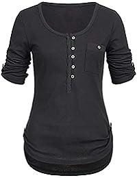 Damen Sommer Bluse Langarm T Shirt Longtop Tunika Oberteil Lose Hemdbluse 34-42