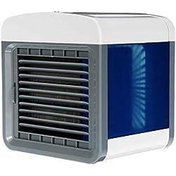 JIJI886 Portable mini Climatiseur ventilateur,Air Cooler 3 en 1 Humidificateur d'air climatisé mobile Purificateur d'air avec de ventilation Charge USB pour les voyages au bureau à la maison (A)