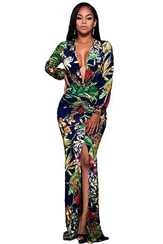 Coloré motif floral décolleté plongeant et fente avant à manches longues pour Maxi robe Club Parti Porter Porter Taille S 8–10EU