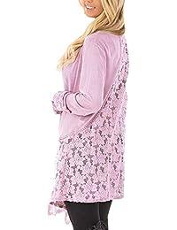 BIRAN-55 Cardigan Damen Langarm Unregelmäßig Asymetrisch Mit Spitze Herbst  Jacke Mode Frühling Schöne Vintage Elegante Lässig… c77deb6329