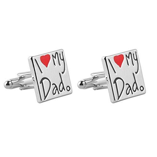 KnBoB Herren Manschettenknöpfe Briefe I Love My Dad mit Herz Silber Manschettenknöpfe Herren Formell Kleidung Kostüm Hemden Hochzeit