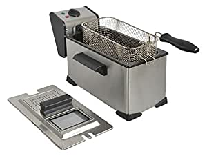 kitchenchef da35x Single thermo-optique 3.5L 2000W Black, Stainless Steel Fryer–fryers (3.5L, 190°c, single, Black, Stainless Steel, Buttons, Rotary, stand-alone)