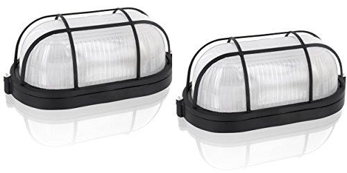 2er Pack - Saunalampe Kellerlampe Bulkhead E27 IP54 schwarz - Aluminium-Gehäuse mit Glasabdeckung -