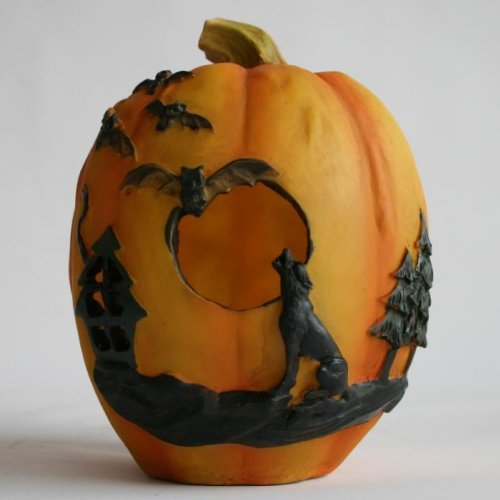Halloween Deko Kürbis mit LED beleuchtet 18 cm