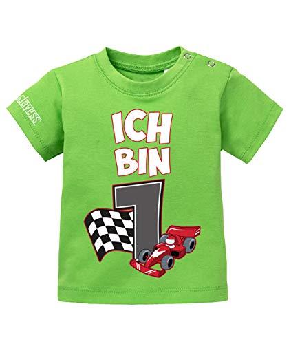 (Jayess Baby Shirt Jungen zum 1 Geburtstag - ich Bin 1 Autorennen Rennfahrer Rennwagen - in Grün Gr. 68/74)