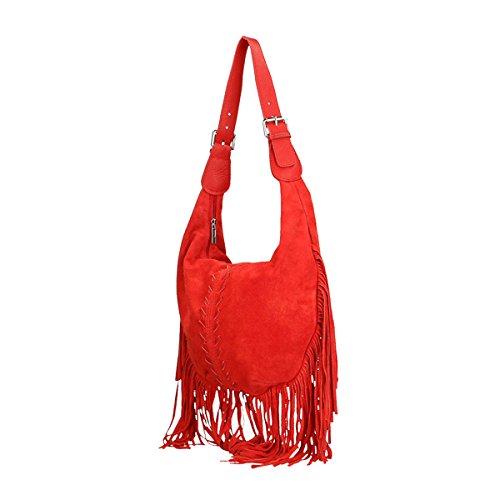 Chicca Borse Borsa a tracolla in pelle 40x27x7 100% Genuine Leather Rosso