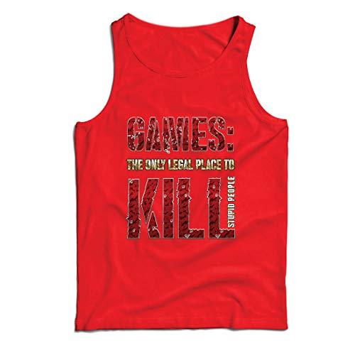 lepni.me Weste Spiele: der einzige legale Ort, um dumme Menschen zu töten Zitat (X-Large Rot Mehrfarben)
