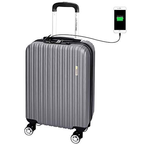 DONPEREGRINO 55cm Maletas de Cabina con Candado TSA y USB de Carga, Maleta Cabina Avión Full Forrada...