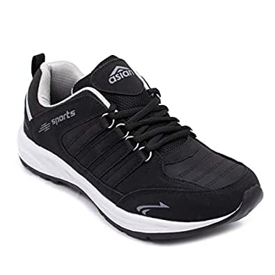 ASIAN Black Sports Shoes,Walking Shoes,Training Shoes,Gym Shoes,Running Shoes for Men UK-10