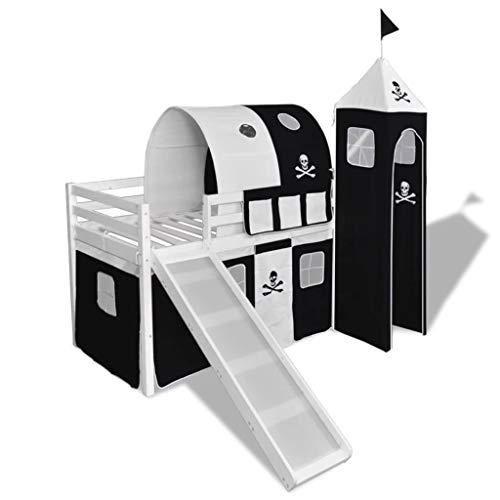 Xinglieu Cama A altillo para niños con Tobogán y Escalera de Madera Negro y Blanco Cama bebé Cuna Design