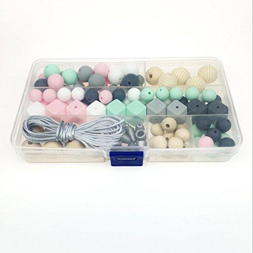 n Baby Teether Spielzeug zum Baby-Duschen-Geschenke BPA frei Set wegbrechen Schließe mit Kauen Weich Teethers Halskette Perlen (Baby-dusche Handwerk)