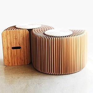 YCDZ STORE Stühle Wohnmöbel Softeating Modernes Design Accordin Folding Papier Hocker Sofa Stuhl Kraftpapier Entspannende Fuß living & amp;Esszimmer (Höhe 42 cm, braun, 3 Sitzplätze + 3-Personen-Aprik