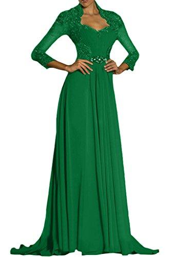 Royaldress Elegant Spitze Langarm Celebritykleider Abendkleider Formale Partykleider Promkleider Lang Festlich Jaeger Gruen