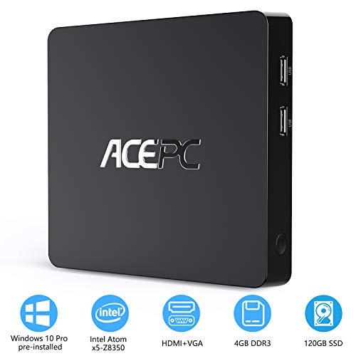 Mini PC 4GB RAM/ 32GB ROM/ 120GB SSD Windows 10 Professionel (64-Bit) Intel Atom Z8350 Prozessor,HD Graphik 400, 4K UHD, Dual WiFi, BT4.0, USB3.0, LAN 1000Mbps