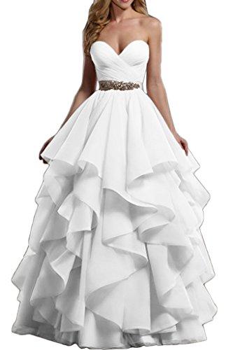 Gorgeous Bride Modern Herz-Ausschnitte Empire Lang Organza Abendkleid Festkleid Abendmode Weiß