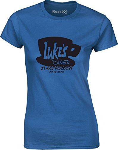 Brand88 - Luke's Diner, Gedruckt Frauen T-Shirt Königsblau/Schwarz