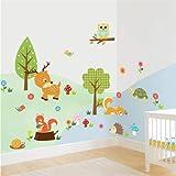 ufengke Niedlichen Cartoon Waldtiere Kitz Eule Blume und Baum Wandsticker,Kinderzimmer Babyzimmer Entfernbare Wandtattoos Wandbilder