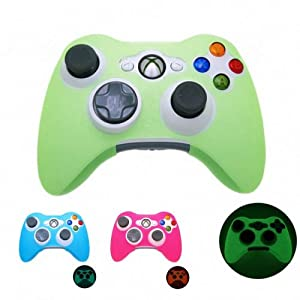 GRÜN GLÜHEN im dunklen Xbox 360 Game Controller Silikon-Kasten-Haut-Schutz-Abdeckung (viele Farben verfügbar) Freies…
