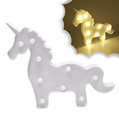 Nettes Einhorn führte Nachtlicht Tier / Frucht Form Marquee LED Lampen auf Wand für Kinder Kinder Geschenk Indoor Beleuchtung Chrismas Party Hochzeit Zimmer Dekor (weißes Einhorn)