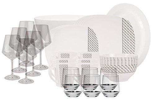 100% Melamin-Geschirr Diamond elfenbeinweiss/grau eckig…   04260241465945