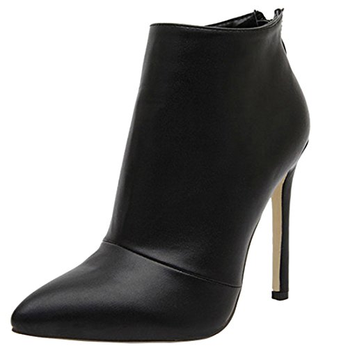 Oasap Women's Charming Simple Color High Heel Pointed Toe Ankle Boots Black