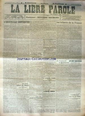 LIBRE PAROLE (LA) du 15/12/1916 - L'UNIVERSITE COOPERATIVE - LA LIBERTE DE LA PRESSE - DE POKROVSKI A SPITZMULLER - LA RETRAITE ROUMAINE. par Collectif