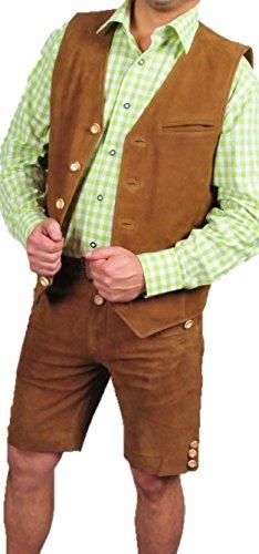 Trachtenset Herren Damen komplett-Lederhose und passende Lederweste Tracht, Lederhose mit Gürtel, echt Leder Nubuk Trachten Lederhose Herren kurz, Damen Trachtenlederhose mit Gürtel, Trachten Lederweste in Camel (44, Hellbraun)