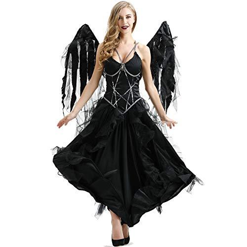 Angel Kostüm Dark Kind - XSH Halloween Vampir Dark Angel Kostüm Cosplay Cosplay Ghost Festival Hexenkostüm,Schwarz,S