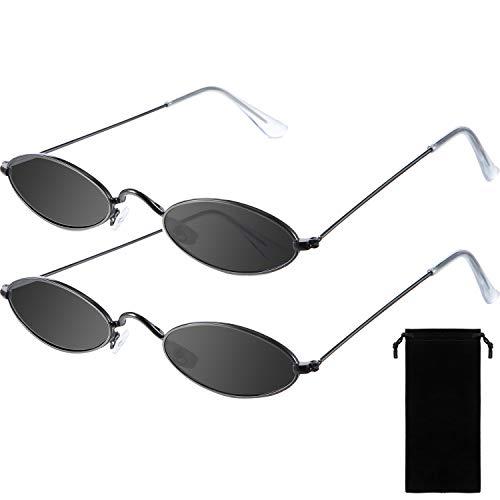 Frienda 2 Pares de Gafas de Sol Ovales Vintage Pequeñas Mini Gafas Redondas Novedosas para Mujeres Hombres con Lentes Gris y Marco Negro