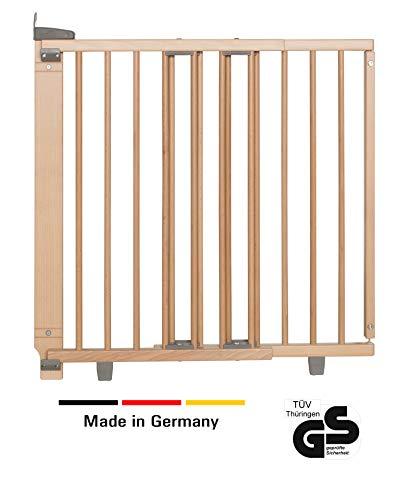 Geuther - Treppenschutzgitter ausziehbar 2732+, für Kinder/Hunde, Türschutzgitter zum bohren, Holz, 86 - 133 cm, TÜV geprüft (Holz-tür-sicherheit)