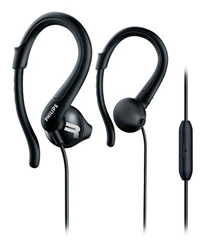 Philips shq1255tbk auricolari con archetto e microfono per lo sport, resistenti al sudore, robusti, bassi potenti, nero