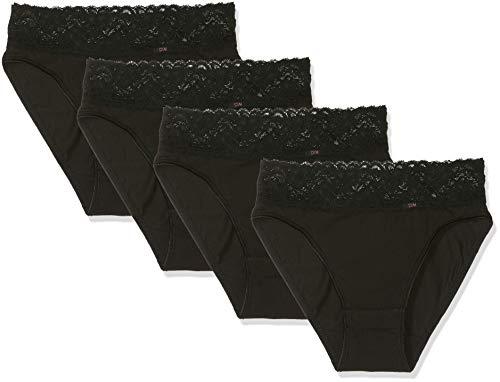 Dim Culotte Coton Feminine midi x4 (2x2) Slip, Noir 0hz, 40 (Taille Fabricant:40/42) (Lot de 4) Femm
