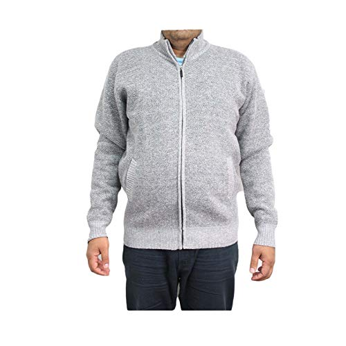 Mens Winter Knitted Zipper Full Sleeve Collared Pockets Jumper Sweater  (Silver - JJ71-RAY-2, 2XL)