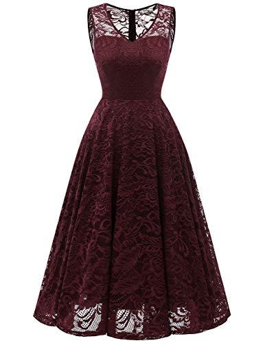 Meetjen Damen Elegant Spitzenkleid V-Ausschnitt Unregelmässig Vokuhila Kleid Festlich Cocktail Abendkleid Midi Burgundy M - Hohe Taille Spitze