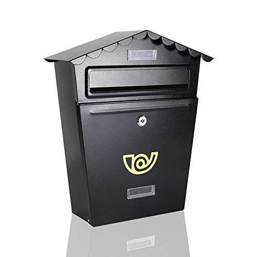 LXSXZGLY Europäischen briefkasten, Wand wasserdicht Schloss kreative Haus Suggestion Box, Retro Amerikanischen Outdoor Dekoration postkasten,schwarz,A
