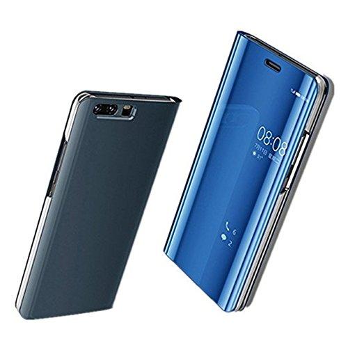 Custodia Huawei P10 / P10 Plus / P10 Lite Cover Case,Pacyer® Custodia Specchio Copertura Caso PC Shell Fondina Ultra Sottile Anti-Scratch Book Style Bumper (Blu, Huawei P10)