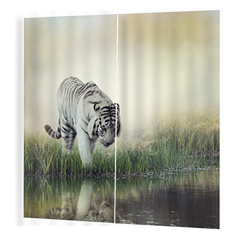 LoveOlvido Vivid Tiger Prints Vorhänge Raum 3D Vorhang Fenster BJQ-1280 (7) 140 * 100cm Trendy Wohnzimmer Schlafzimmer Blackout - Multicolor