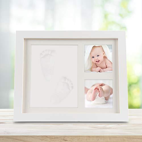 Fußabdruck, Orlegol Baby Holz Bilderrahmen mit Gipsabdruck für Baby Hand und Fuß, Abdruckset Bilderrahmen Baby Geschenk, Besonderes Geschenk zur Geburt für Neugeborene (Weiß) ()