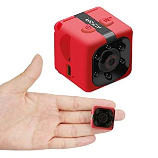 Aufikr Mini Camera Sports HD DV Camera 1080P Portable Tiny Video Camera with IR Night Vision & Motion Detection, Small Surveillance Camera for Home Office (Red)