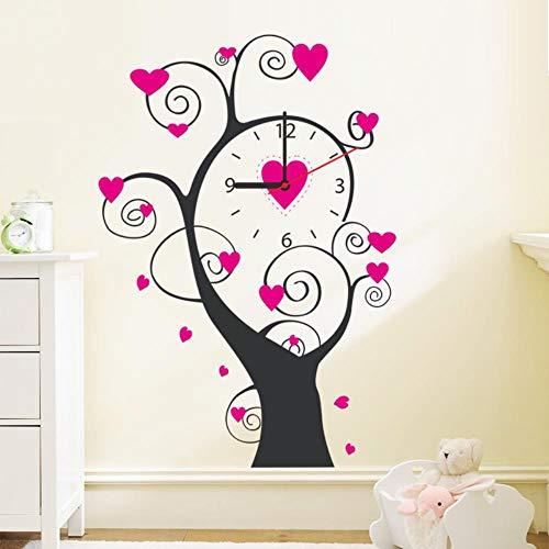Rosa Liebe Baum Wandaufkleber DIY Kreative Uhr Aufkleber Wohnzimmer Dekoration Wandaufkleber Uhr Aufkleber