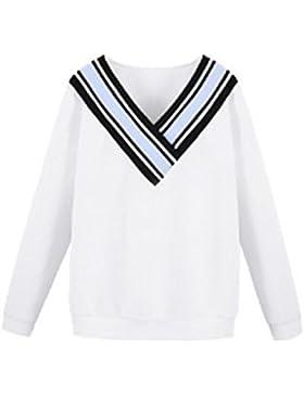 Donna V Collo T Shirt Camicetta Tops Maniche Lunghe Righe Classico Eleganti Puro Colore Moda