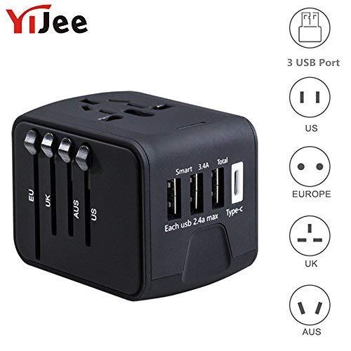 yijee All in One International Travel Ladegerät mit 3,4A 3USB + 1Typ C weltweit Travel Power Adapter Stecker-Wand-Ladegerät für Uns UK EU AU & Asien für 150Länder (schwarz) 1 800 Mobile