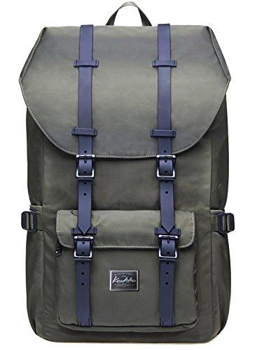 Sac à dos ordinateur KAUKKO sac à dos vintage pour voyage / Randonnée / Camping (armée verte)