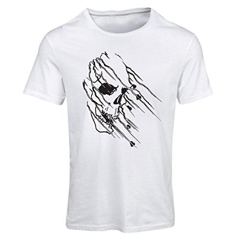 lepni.me Maglietta Donna Art Skull - Vintage t Shirts (Small Bianco Multicolore)