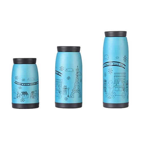 Baihuiliangpin Edelstahl Cartoon Thermos Flasche Vakuum-Flasche Isolierte Heiße Tasse Kaffeetasse Wasserkocher Wasserkocher Wasserkocher Hot Plate 500Ml Blau 500 Ml