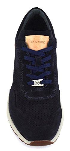 Sneaker Cafè Noir PA603 in crosta blu con forature Grigio