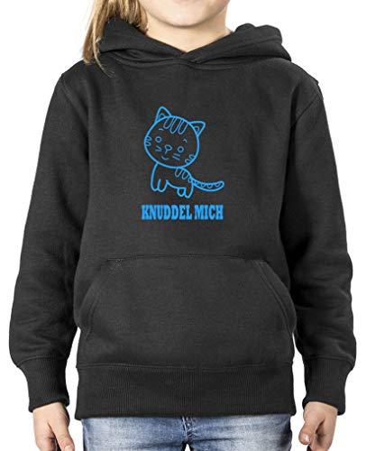 Comedy Shirts - Knuddel Mich Katze - Mädchen Hoodie - Schwarz/Blau Gr. 134/146